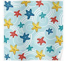 Cute Starfish and Sea Swirls Poster