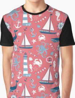 Pink Blue White Nautical Ocean Graphic T-Shirt
