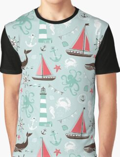 Nautical Ocean Blue With Sailboats and Lighthouses Graphic T-Shirt