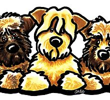 Three Wheaten Softies by offleashart