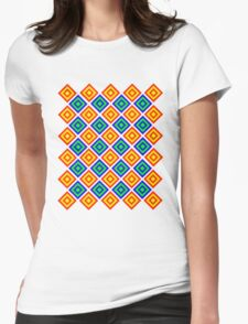 Colourful Diamond Pattern Womens Fitted T-Shirt
