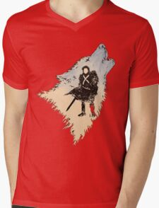 Ghost Wolf Mens V-Neck T-Shirt
