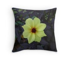 Yellow flower with dark foilage Throw Pillow