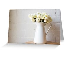 Erlicheer daffodils in white jug Greeting Card