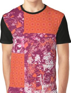 Abstract Scratch and Orange Mandala Tile Graphic T-Shirt