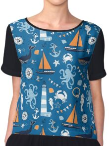 Bright Blue and Orange Nautical Ocean Chiffon Top