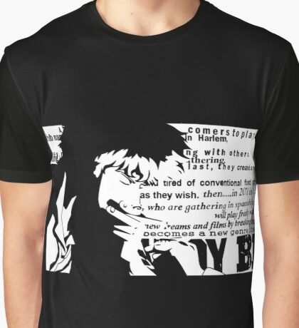 Spike Cowboy bebop White Graphic T-Shirt