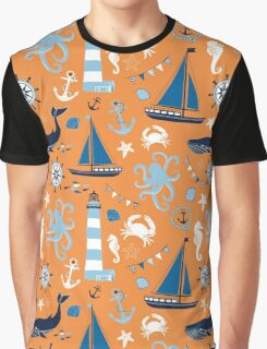 Orange and Blue Nautical Ocean Graphic T-Shirt
