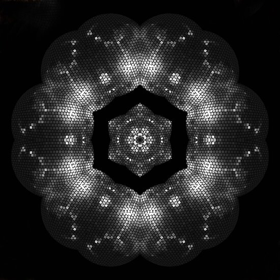 Silver on Black Mesh Shape - Pattern  by LjMaxx