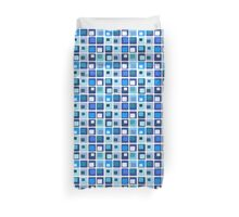 Retro Blue Squares Duvet Cover
