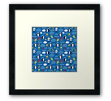 Whimsical Ocean Penguins Sailors Sea Turtles Nautical Framed Print