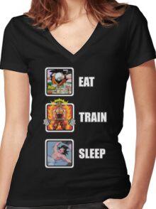 Eat, Train, Sleep (Deadlift) Women's Fitted V-Neck T-Shirt