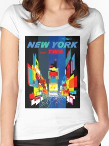 """""""TWA FLY TO NEW YORK"""" Art Deco Print Women's Fitted Scoop T-Shirt"""