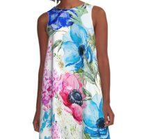 Colorful Springtime Flowers A-Line Dress