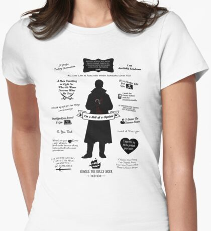 """Captain Hook """"Iconic Quotes"""" Silhouette Design Womens Fitted T-Shirt"""