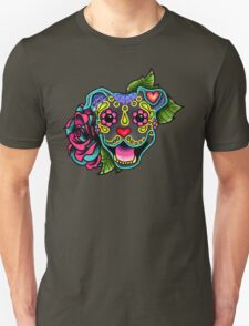 Smiling Pit Bull in Blue - Day of the Dead Happy Pitbull - Sugar Skull Dog Unisex T-Shirt