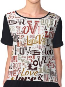Vintage Love Typography  Chiffon Top