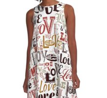 Vintage Love Typography  A-Line Dress