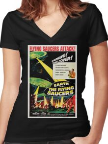 Earth vs. The Flying Saucers Women's Fitted V-Neck T-Shirt