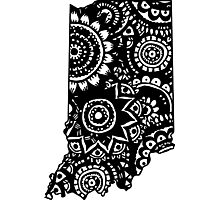 Indiana State Outline Doodle Photographic Print