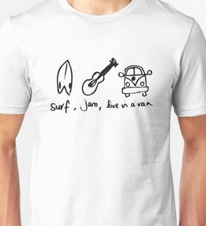 Surf,Jam, Live in a van Unisex T-Shirt