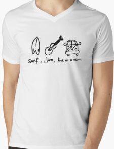 Surf,Jam, Live in a van Mens V-Neck T-Shirt