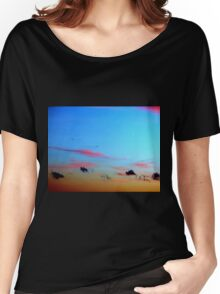 SKY WITH BLACK Women's Relaxed Fit T-Shirt