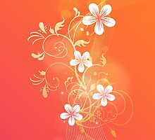 Florals and Flourishes on Gradient Orange Photographic Print