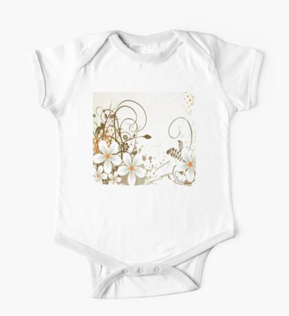 Graphic White Daisies with Brown Branches and Orange Splashes One Piece - Short Sleeve