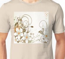 Graphic White Daisies with Brown Branches and Orange Splashes Unisex T-Shirt