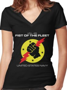 VFA-25 FIST OF THE FLEET Women's Fitted V-Neck T-Shirt