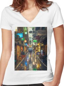 Rainy Day in Bohemian Melbourne Women's Fitted V-Neck T-Shirt