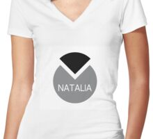 american first name female: Natalia Women's Fitted V-Neck T-Shirt