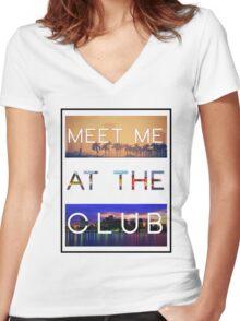 GREEN VELVET | MEET ME AT THE CLUB Women's Fitted V-Neck T-Shirt