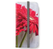 Red gerberas over white tablecloth iPhone Wallet/Case/Skin