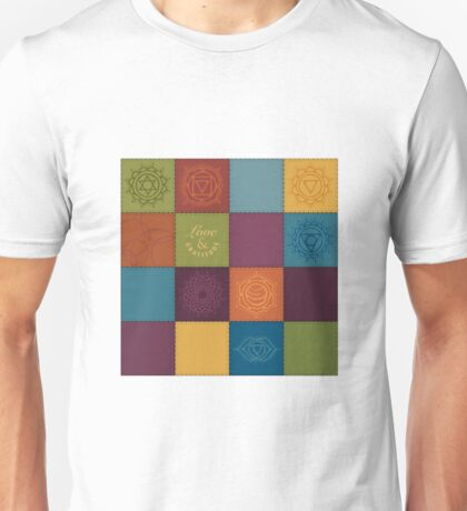 Patchwork chakra symbols Unisex T-Shirt