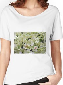 Natural background with small green leaves and flowers. Women's Relaxed Fit T-Shirt