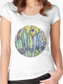 Dandelions.Hand draw  ink and pen, Watercolor, on textured paper Women's Fitted Scoop T-Shirt