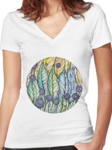 Dandelions.Hand draw  ink and pen, Watercolor, on textured paper Women's Fitted V-Neck T-Shirt