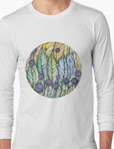 Dandelions.Hand draw  ink and pen, Watercolor, on textured paper Long Sleeve T-Shirt