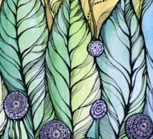 Dandelions.Hand draw  ink and pen, Watercolor, on textured paper Sticker