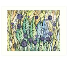 Dandelions.Hand draw  ink and pen, Watercolor, on textured paper Art Print