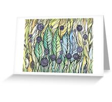 Dandelions.Hand draw  ink and pen, Watercolor, on textured paper Greeting Card
