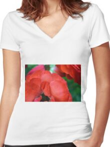 Macro on red roses petals. Women's Fitted V-Neck T-Shirt