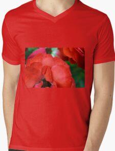 Macro on red roses petals. Mens V-Neck T-Shirt