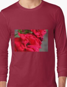 Macro on red roses petals. Long Sleeve T-Shirt