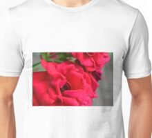 Macro on red roses petals. Unisex T-Shirt