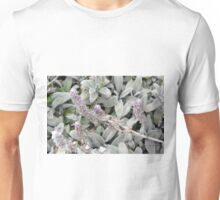 Green fluffy smooth leaves background. Unisex T-Shirt