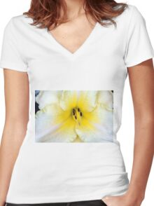 Macro on delicate white flower. Women's Fitted V-Neck T-Shirt