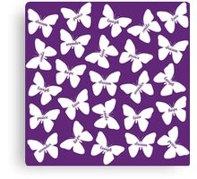 Butterfly Words White Canvas Print